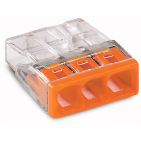 Wago - Borne pour boîte de dérivation 2273 - 3 x 0,5 à 2,5 MM² - Orange/Transparent
