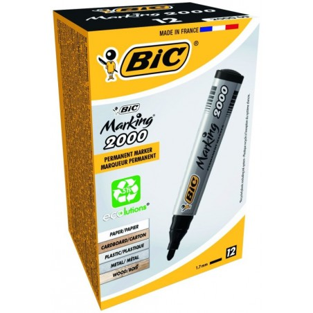 Bic - 12 Marqueurs permanent Marking 2000 Ecolutions - Noir