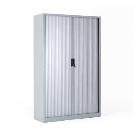 Armoire haute à 2 rideaux - 4 tablettes - 198 x 120 cm - Gris clair